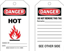 """Brady  86695 7"""" Height x 4"""" Width, Cardstock (B-853), Black/Red on White Accident Prevention Tags (100 Tags)"""
