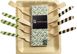 "Perfect Stix Game Day 24-Seahawks Tailgate Party Pack, 24 Pack Flexible Paper Straws, 24 Count Cutlery Set with Seahawks Colors, 24 Count 10"" Wooden Plates, 24 Pack 6"" Cocktail Stirrers (Pack of 96)"