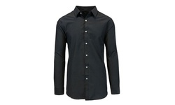 Harvic Men's Long Sleeve Button-Down Shirts - Black - Size: XL