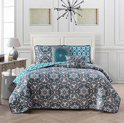 Lola 5pc Quilt Set - Queen - Blue