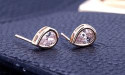 Cubic Zirconia Pear Stud Earrings in 14K Gold Plating