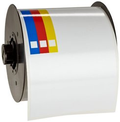 "Brady B30-243-595-CB 100' Length x 4"" Width, B-595 Indoor/Outdoor Vinyl, White BBP31 Pre-Printed Right-To-Know Chemical Labels Tape, 170 per Roll"