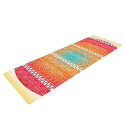 "KESS InHouse Famenxt Romantic Pattern Exercise Yoga Mat, Red Abstract, 72"" by 24"""