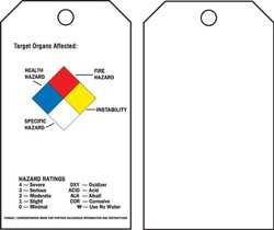 "Brady  76228 5 3/4"" Height x 3"" Width, Economy Polyester (B-851), Black, Red, Blue, Yellow on White Right-To-Know Accident Prevention Tags (25 Tags)"