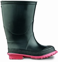 "ONGUARD 07940 PVC Junior Scooter Boots with Slip Resistant Outsole, 14"" Height, Black/Red, Size 9"