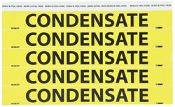 """NMC B1062Y Pipemarkers Sign, Legend """"CONDENSATE"""", 9"""" Length x 1"""" Height, 3/4"""" Letter Size, Pressure Sensitive Vinyl, Black on Yellow (Pack of 25)"""