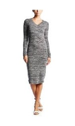Philosophy Long Sleeve Mid-length V-Neck Dress - Grey - Size: Medium