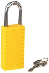 "Brady 123399 Lockout Padlock, Keyed Different, 1/4"", Yellow"