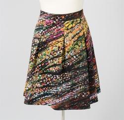 Spense Pleated Print Skirt - Multi - Size: Medium (SS16788)