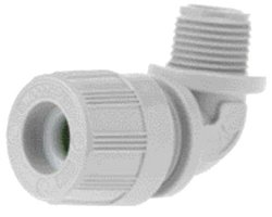 """Woodhead 5539 Cable Strain Relief Grip, Locknut, Max-Loc Cord Seal, Right Angle Male, 3/4"""" NPT Thread Size, Gray Grommet Color, .500-.625"""" Cable Diameter"""