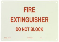 "Brady 69246 14"" Width x 10"" Height B-120 Premium Fiberglass, Red on White Fire Sign, Legend ""Fire Extinguisher Do Not Block"""