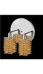 Elegant Lighting 1282W-R-P-LT/RC Mini 13.5-Inch High 2-Light Wall Sconce, Chrome Finish with Light Topaz (Yellow) Royal Cut RC Crystal