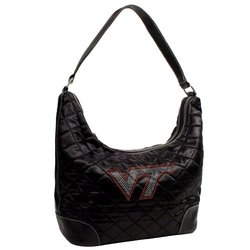 NCAA Virginia Tech Hokies Sport Noir Quilted Hobo Purse, Black
