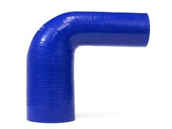 "HPS HTSER90-050-075-BLUE Silicone High Temperature 4-ply Reinforced 90 degree Elbow Reducer Coupler Hose, 100 PSI Maximum Pressure, 4"" Leg Length on each side, 1/2"" > 3/4"" ID, Blue"