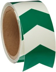 "Brady 12"" W x 5' L B-324 Self-Stick Polyester V-Style Arrow Tape - Green"