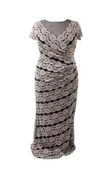 R&M Richards Women's Plus Size Lace Evening Gown - Black/Taupe - Size: 14W