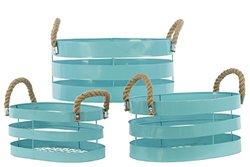 Cyan Metal Basket with Rope Handles (Set of 3