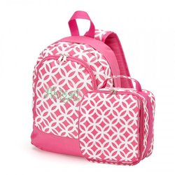 Kids Girls Sadie Name Abigail Preschool Backpack & Lunch Bag Combo- Pink