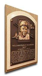 MLB Pittsburgh Pirates Bill Mazeroski Baseball Hall of Fame Plaque on Canvas, Medium, Brown