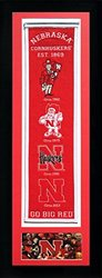 """NCAA Nebraska Cornhuskers Legends Never Die Team Heritage Banner with Photo Double Matted & Framed, 15 x 42"""", Team Color"""