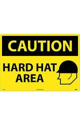 "NMC 28""x20"" Legend ""CAUTION - HARD HAT AREA"" OSHA Sign - Black on Yellow"