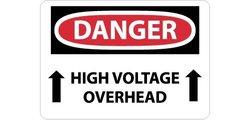 "NMC 28""x20"" ""DANGER - HIGH VOLTAGE OVERHEAD"" OSHA Sign- Black/Red/White"