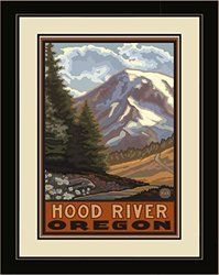 Northwest Art Mall PAL-1047 LFGDM STM Hood River Oregon Springtime Mountains Framed Wall Art by Artist Paul A. Lanquist, 20 by 26-Inch