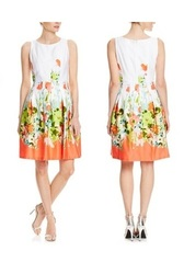 Chetta B. Women's Dress with Floral Print - White/Neon/Coral - Size: 6