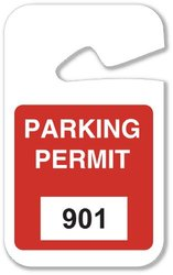 "Brady 4 3/4"" W x 2""H Vinyl Blue Rearview Mirror Hanging Tags - 100-count"