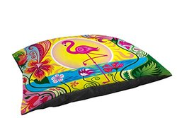 Manual Woodworkers & Weavers Indoor/Outdoor Small Breed Pet Bed, Flamingo Blossom Sun, Multi Colored