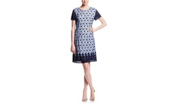 Sharagano Women's Embroidered Shift Dress - Midnight Navy - Size: 4