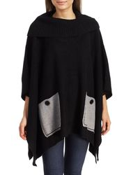 Women's Pocket Poncho Sweater - Heather Gray - Size: S/M