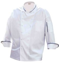 Chef Works VECC-WHT Evian Executive Chef Coat, White, with Black Pipping, Size 52