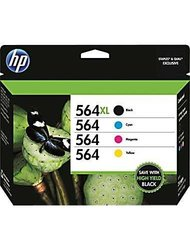 Genuine HP 564XL/564 High Yield Blk & Standard C/M/Y Color Ink Cartridges