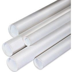 """White Mailing Tubes with Cap; 4"""" x 42"""", 15/Case"""