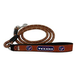 NFL Houston Texans Football Leather Rope Leash, Medium, Brown
