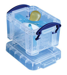 "Really Useful 0.14 Liter 3 1/4"" x 2 1/2"" x 2"" Plastic Storage Box - Clear"