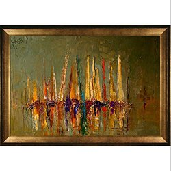 overstockArt Boats by Kopania w/ Athenian Gold Frame -Antique Gold Finish