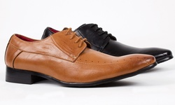 Royal Men's Square Cap Toe Lace up Dress Shoes - Light Brown - Size: 8.5