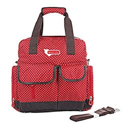Orgrimmar Multifunction Diaper Tote Bags Baby Nappy Bag Larger Capacity Mummy Handbag Backpack (Red Dot)