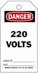 """Brady 86420 5 3/4"""" x 3"""" Heavy Duty Accident Prevention Tags - Pack of 10"""