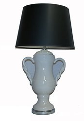 "A Ray Of Light 45973BL Classico 32"" Ivory Double Handled Urn Table Lamp with A Black Hardback Modified Drum Shade"