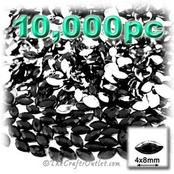 The Crafts Outlet 10000-Piece Flat Back Eye Shaped Navette Rhinestones, 4mm by 8mm, Jet Black