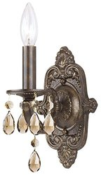 5021-VB-GTS Sutton 1LT Wall Sconce, Venetian Bronze Finish and Swarovski Elements Golden Teak Accents