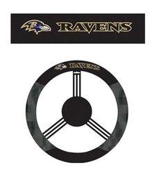 Baltimore Ravens Poly Suede & Mesh Steering Wheel Cover black