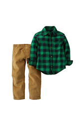 Carter's Boys' Plaid Top With Pants Set - Green - Size: 2T-4T