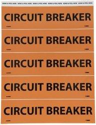 "NMC JL2048O Electrical Marker, Legend ""CIRCUIT BREAKER"", 9 Length x 2-1/4"" Height, Pressure Sensitive Vinyl, Black on Orange (Pack of 25)"