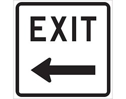 "Brady 18x18"" Engineer Grade Aluminum Exit Sign - Black/White"