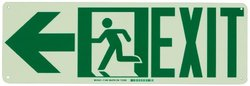 "Brady 21x7"" ""Exit with Running Man - Arrow Left"" Sign - Green"