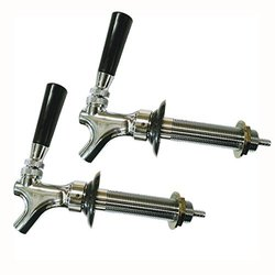 HBS-2FSC Homebrewstuff Chrome Draft Beer Faucet and 4 1/2 Inch Shank Combo - Set of 2